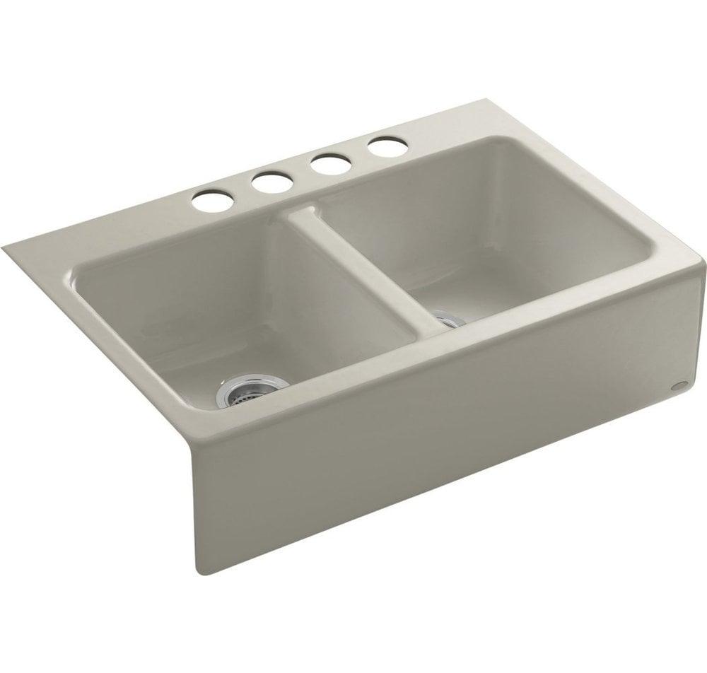 Apron Sink With Faucet Holes : ... Kitchen Sinks All Products Sandbar / Kitchen Sink / K-6534-4U-G9