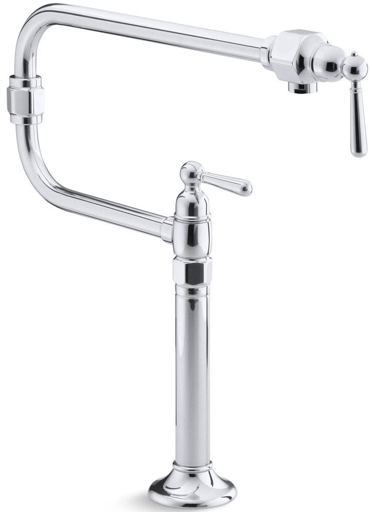 Kohler Hirise Double Handle Deck Mounted Pot Filler Faucet Pot Filler Faucet Polished