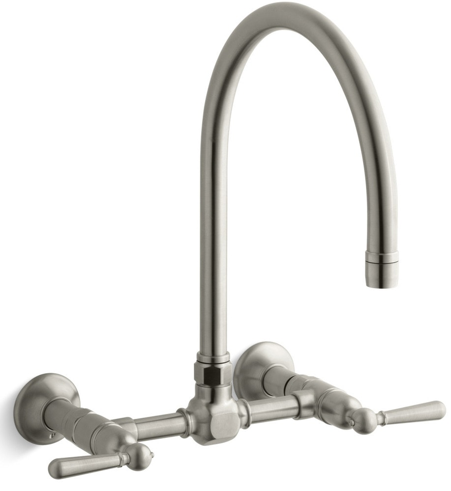 Kohler hirise double handle wall mounted kitchen faucet for Kitchen faucet recommendations