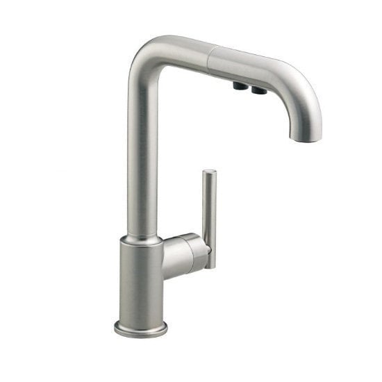 Kohler purist single handle pullout spray with ceramic for Kitchen faucet recommendations