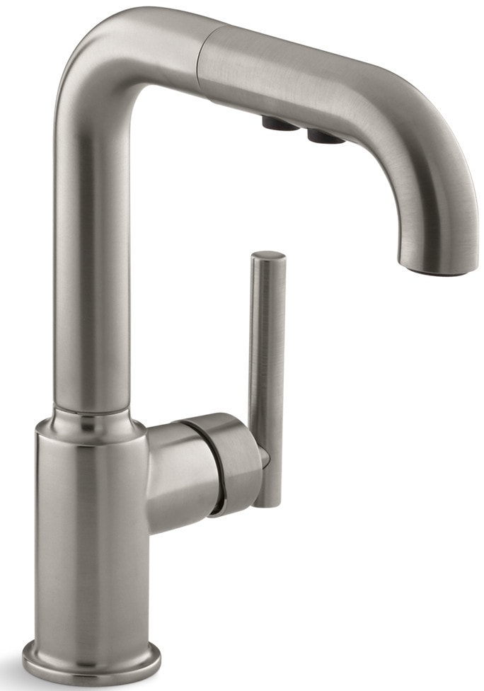 Kohler purist single handle with pullout spray kitchen for Kitchen faucet recommendations