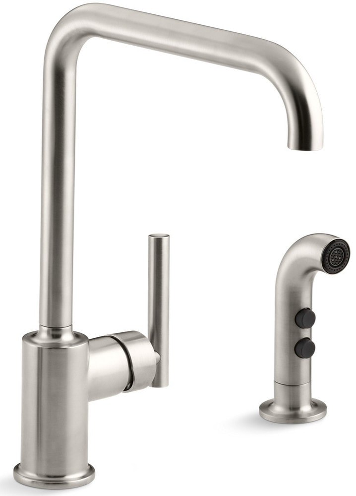 Kohler Purist High Arch With Side Spray Kitchen Faucet Vibrant Stainless K 7508 Vs