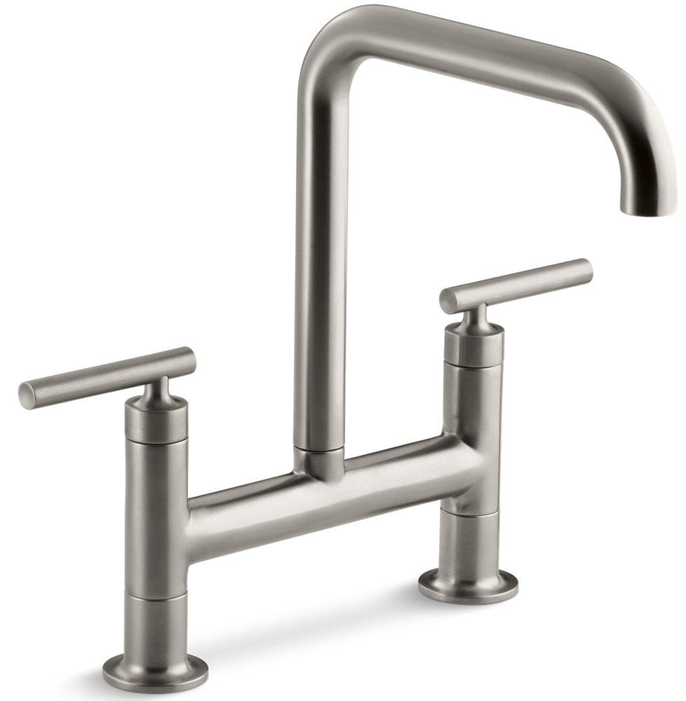 Kohler purist double handle bridge with rotating spout for Kitchen faucet recommendations