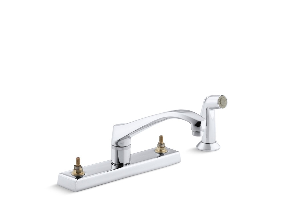 Kohler triton double handle deck mounted with sidespray for Kitchen faucet recommendations