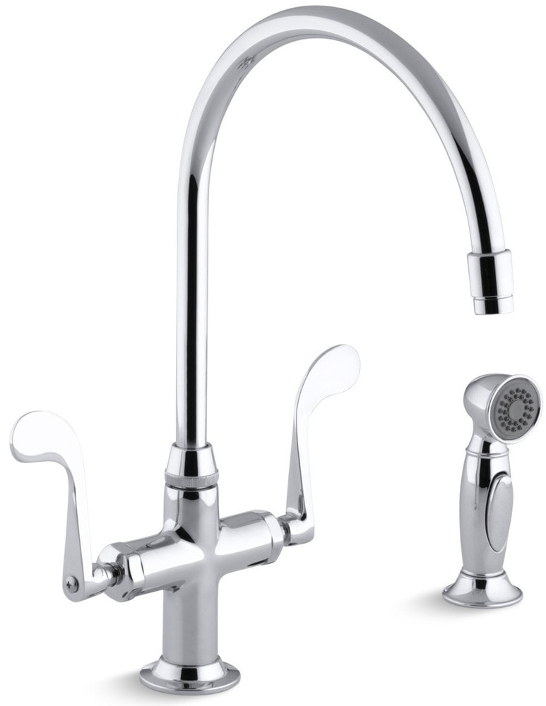 Kohler essex double handle single hole with side spray for Kitchen faucet recommendations