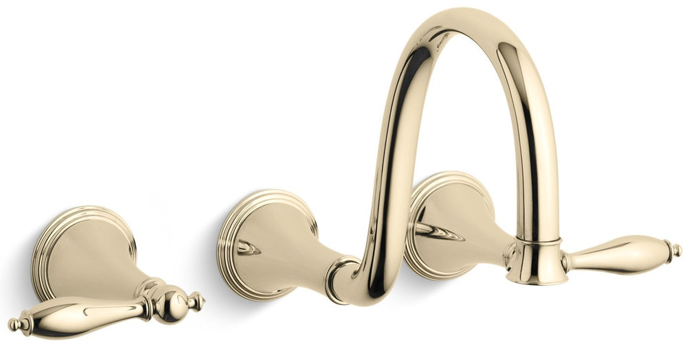 Kohler finial wall mounted without drain bathroom faucet french gold k t343 4m af for French style bathroom faucets