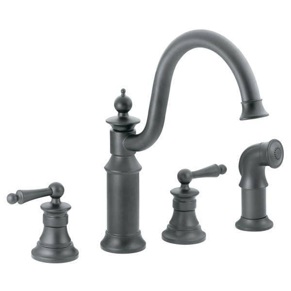 Moen iron waterhill high arc kitchen double handle with for Showhouse faucets