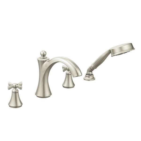 Moen Wynford Two Handle Diverter W Hand Shower And Cross Handles Roman Tub F