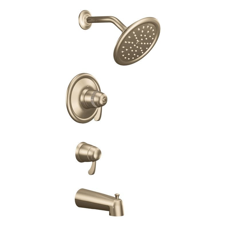 Moen exacttemp double handle tub and shower w shower head and tub spout tub and shower faucet - Shower head for bathtub faucet ...