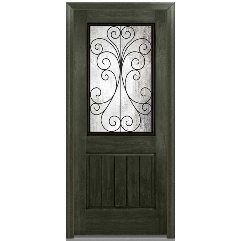 Doorbuild Camelia Glass Collection Fiberglass Rustic Prehung Entry Door New Ebony 36 X80