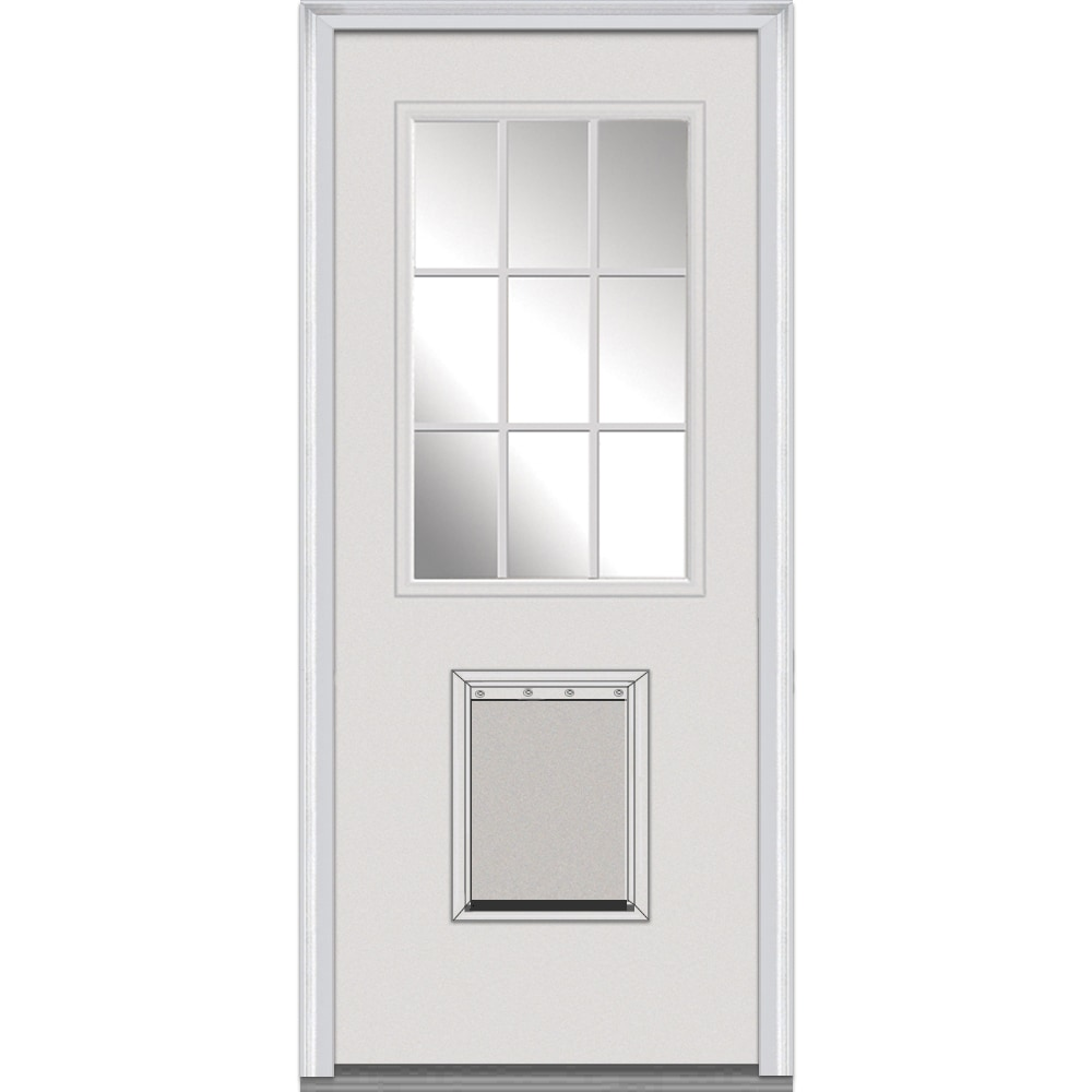 Doorbuild Clear Glass Collection Steel Prehung Entry Door 1 2 Lite Clear Glass With External