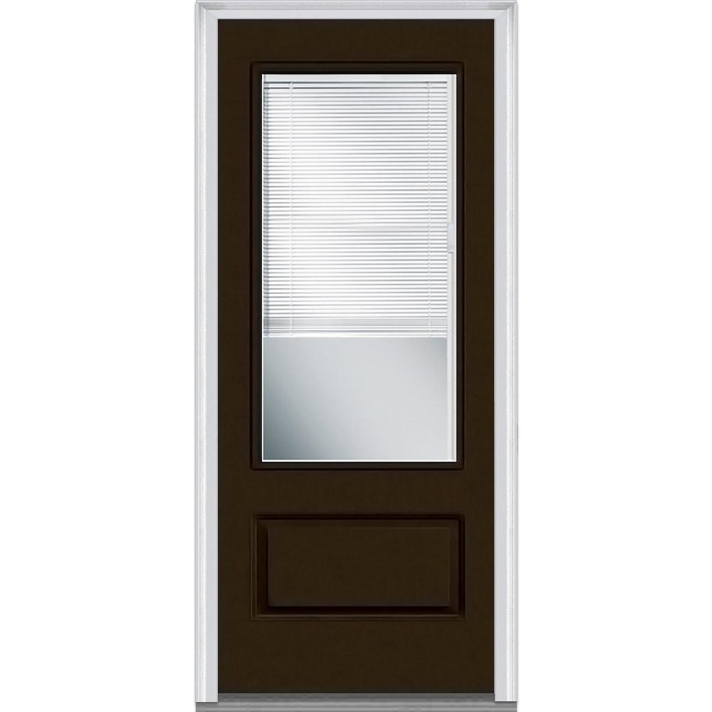 Doorbuild Internal Mini Blinds Collection Fiberglass Smooth Entry Door Brown 36 X80 3 4