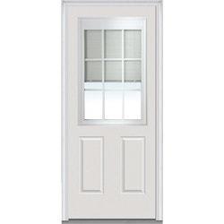 Door Build Internal Mini Blinds Fiberglass Smooth Entry Door Type 150998531 E