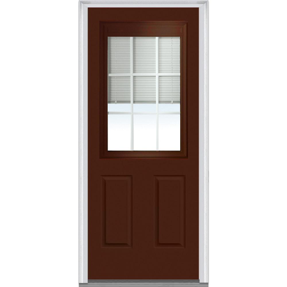 Doorbuild Internal Mini Blinds Collection Fiberglass Smooth Entry Door Redwood 32 X80 1 2