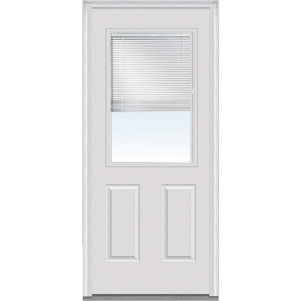 Doorbuild Internal Mini Blinds Collection Fiberglass Smooth Entry Door Brilliant White 32