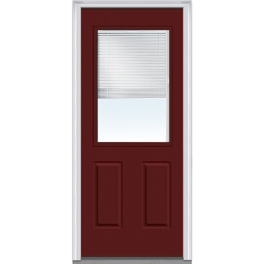 DoorBuild Internal Mini Blinds Collection Steel Prehung Entry Door Burgundy