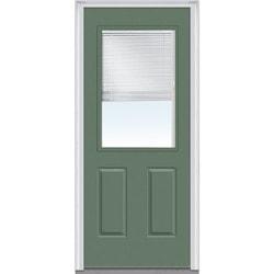 Door Build Internal Mini Blinds Fiberglass Smooth Entry Door Type 150975421 E