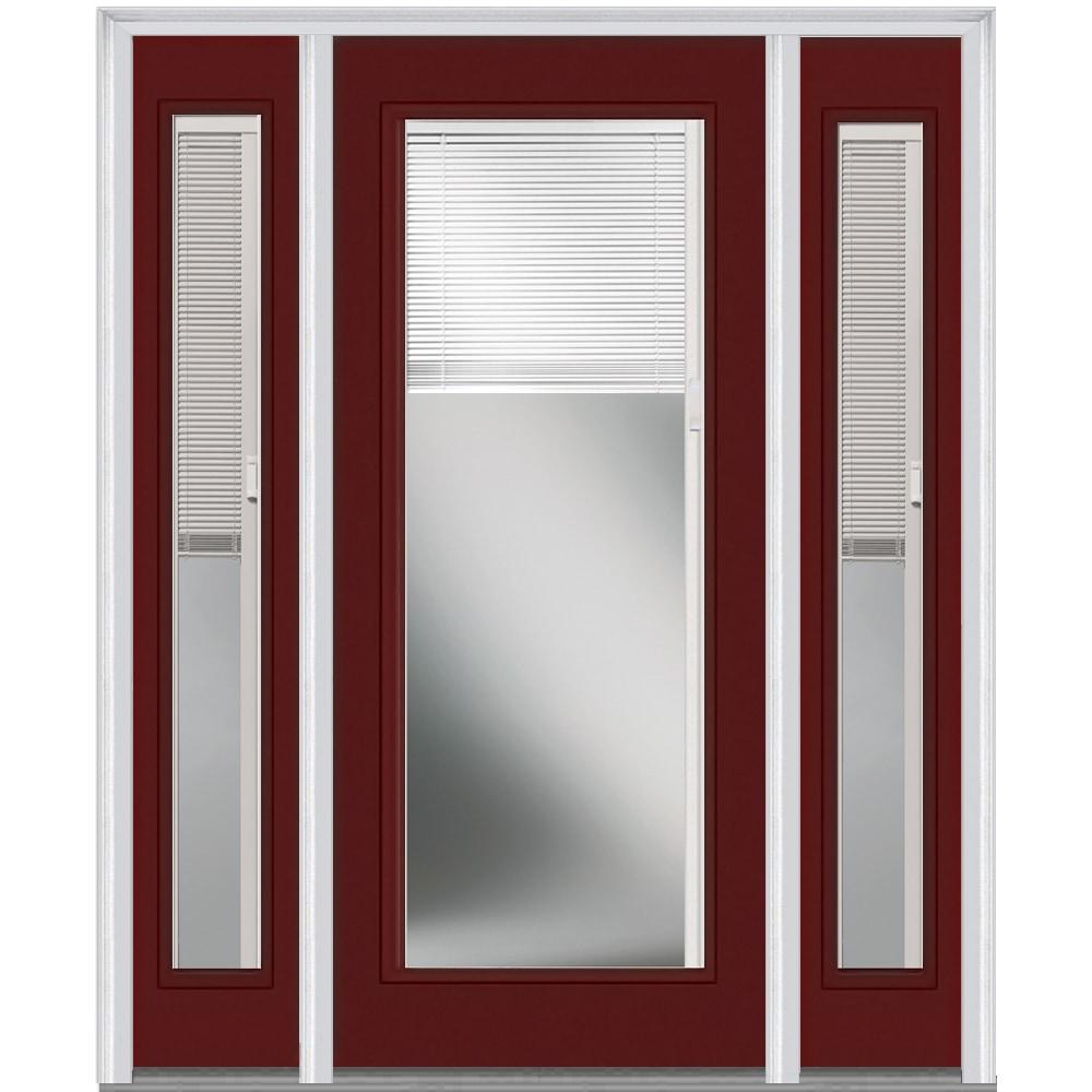 Doorbuild Internal Mini Blinds Collection Steel Prehung Entry Door Burgundy 36 X80 Full