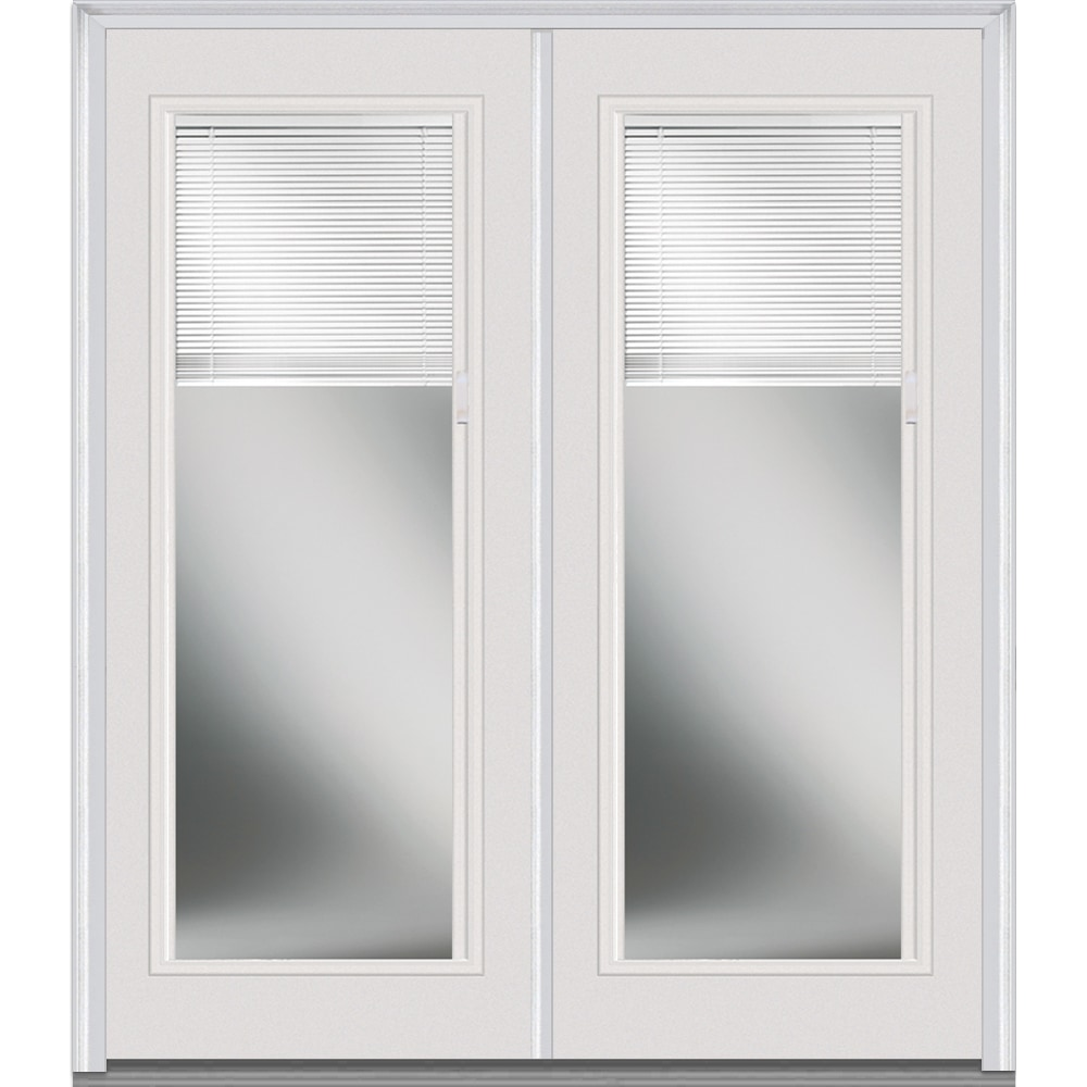 Doorbuild Internal Mini Blinds Collection Steel Prehung Entry Door Brilliant White 72 X80