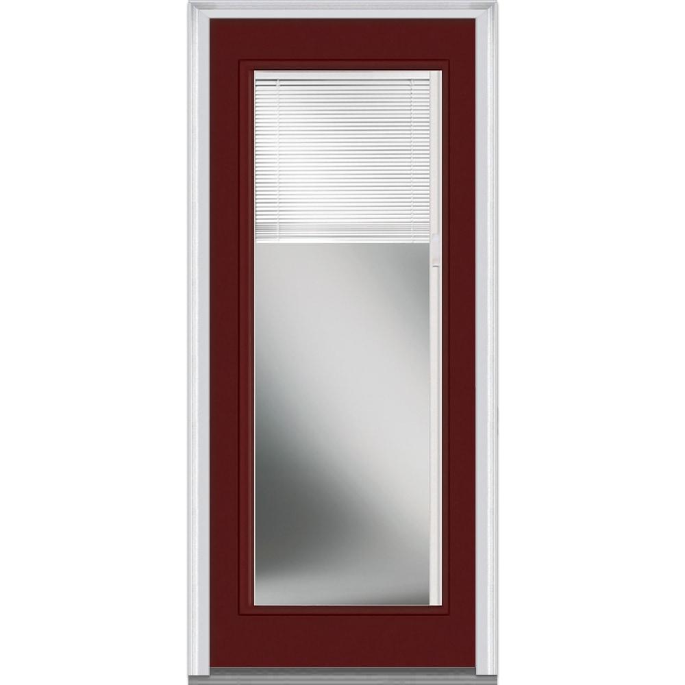 Doorbuild Internal Mini Blinds Collection Fiberglass Smooth Entry Door Burgundy 32 X80
