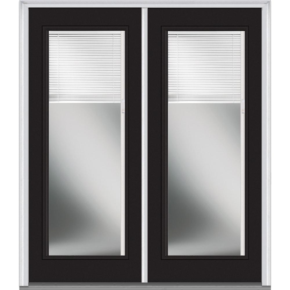 Doorbuild Internal Mini Blinds Collection Steel Prehung Entry Door Black 60 X80 Full Lite