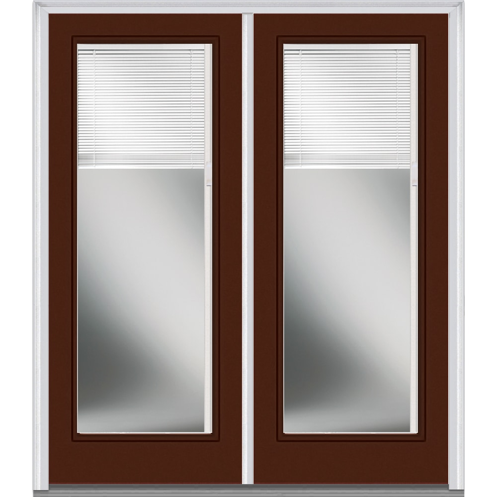 Doorbuild Internal Mini Blinds Collection Fiberglass Smooth Entry Door Redwood 64 X80
