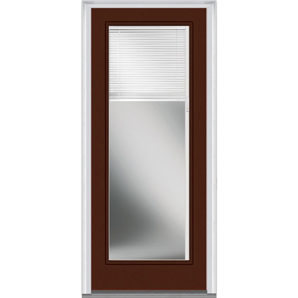DoorBuild Internal Mini Blinds Collection Steel Prehung Entry Door Redwood