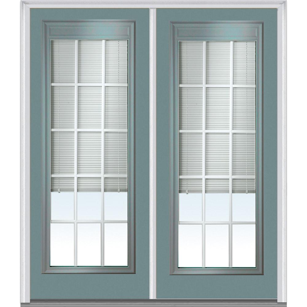 Doorbuild Internal Mini Blinds Collection Steel Prehung Entry Door Riverway 64 X80 Full