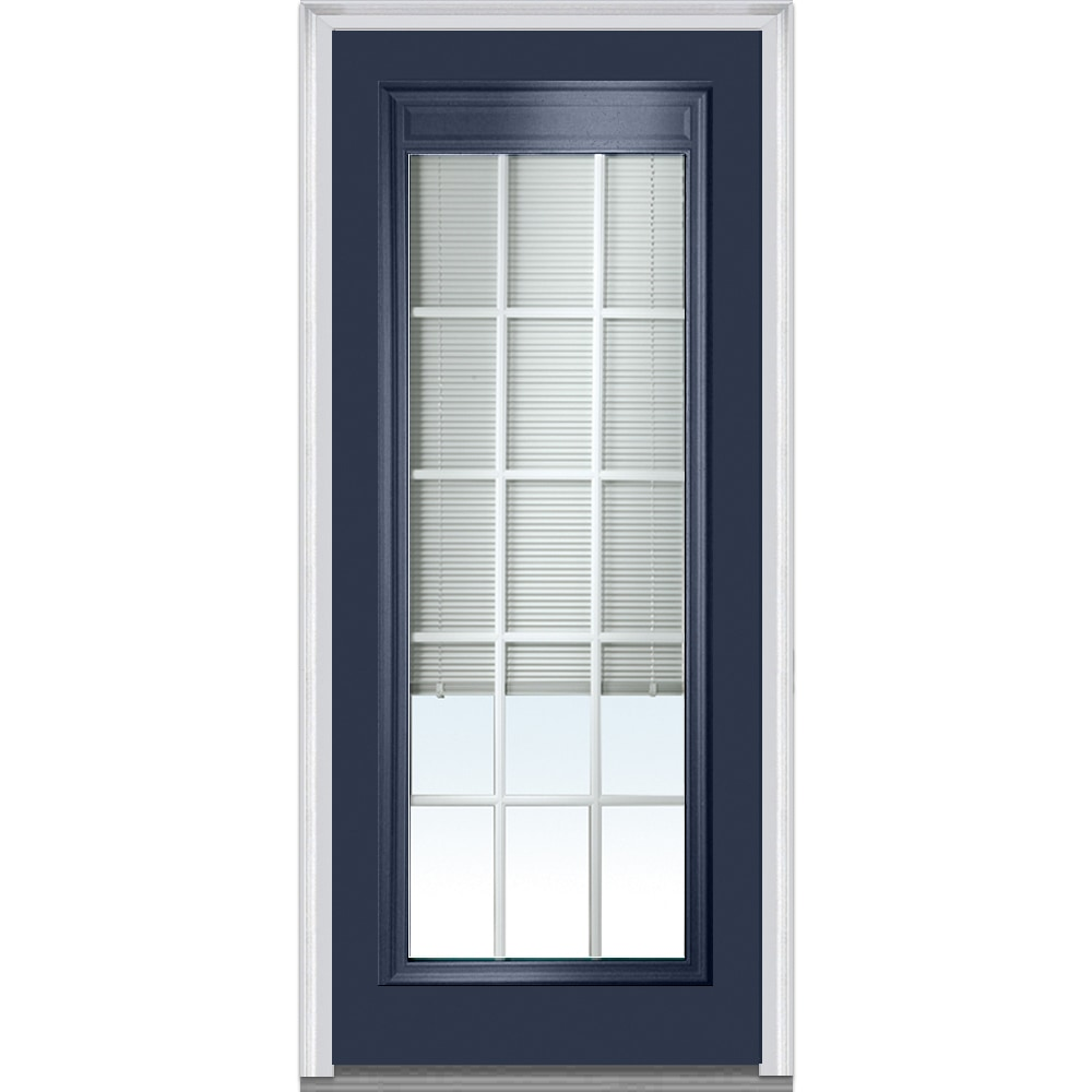 Doorbuild Internal Mini Blinds Collection Fiberglass Smooth Entry Door Polished Mahogany 36