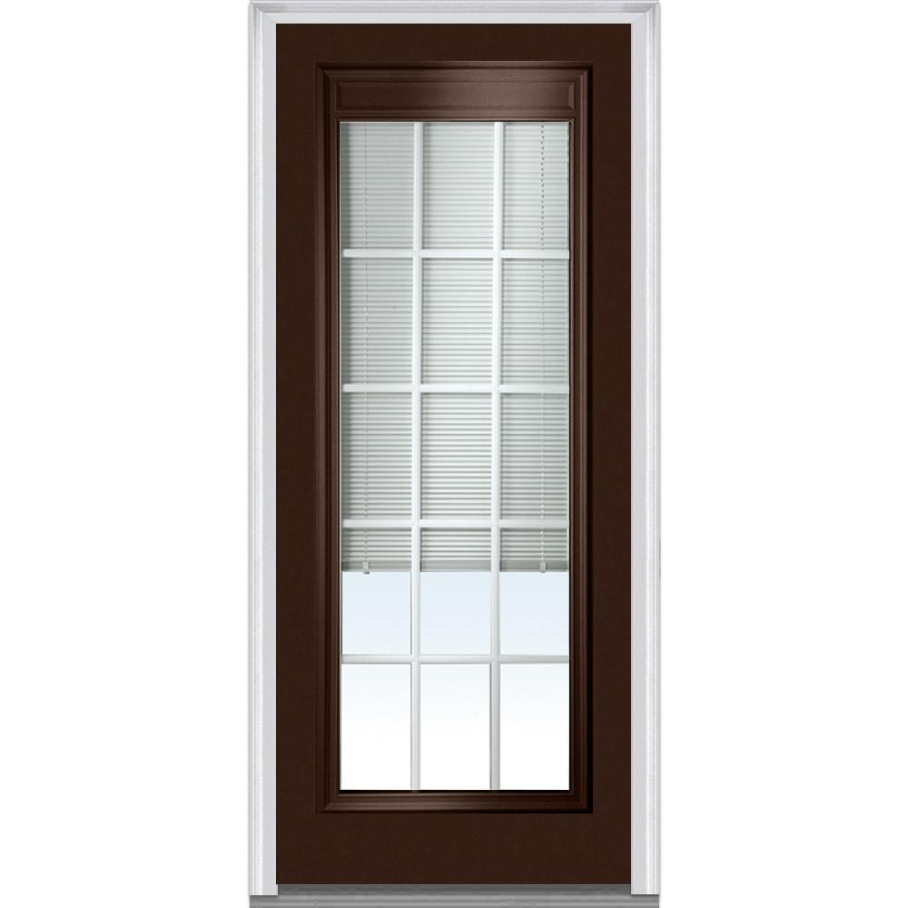 Doorbuild Internal Mini Blinds Collection Steel Prehung Entry Door Polished Mahogany 36 X80