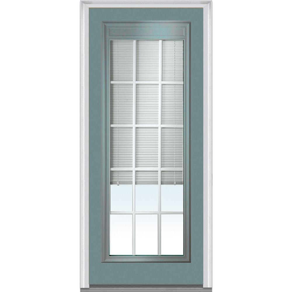 Doorbuild Internal Mini Blinds Collection Fiberglass Smooth Entry Door Redwood 32 X80