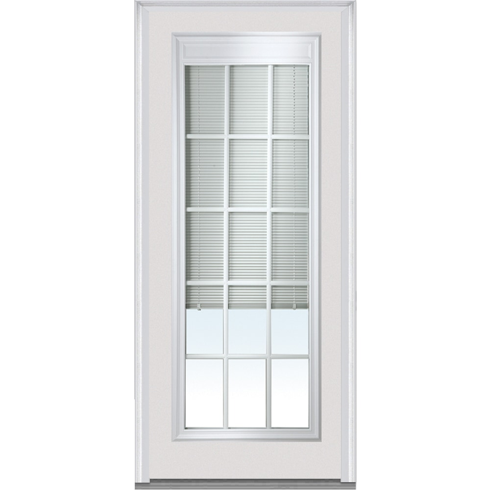 Doorbuild Internal Mini Blinds Collection Fiberglass Smooth Entry Door Brilliant White 32