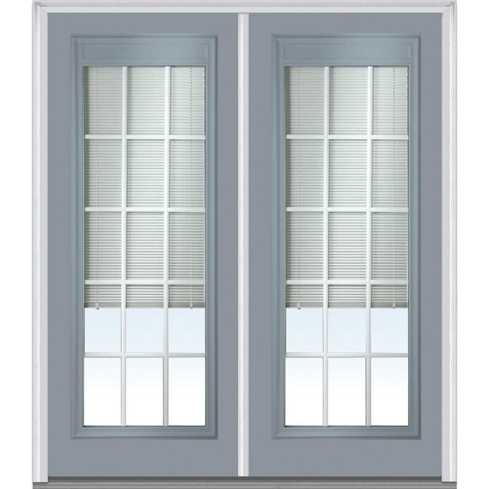 Doorbuild Internal Mini Blinds Collection Steel Prehung Entry Door Storm Cloud 72 X80