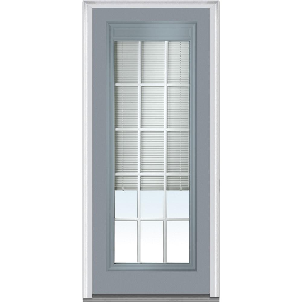 Doorbuild Internal Mini Blinds Collection Fiberglass Smooth Entry Door Storm Cloud 32 X80