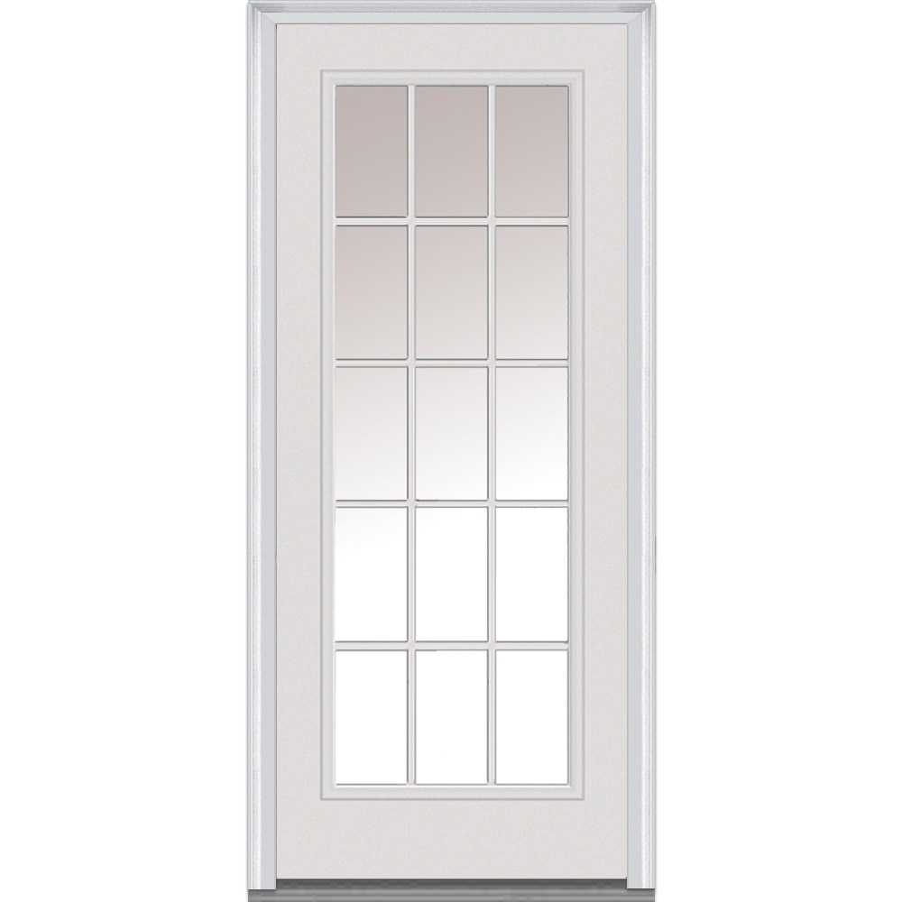 DoorBuild Clear Glass Collection Fiberglass Smooth Prehung Entry Door Primed