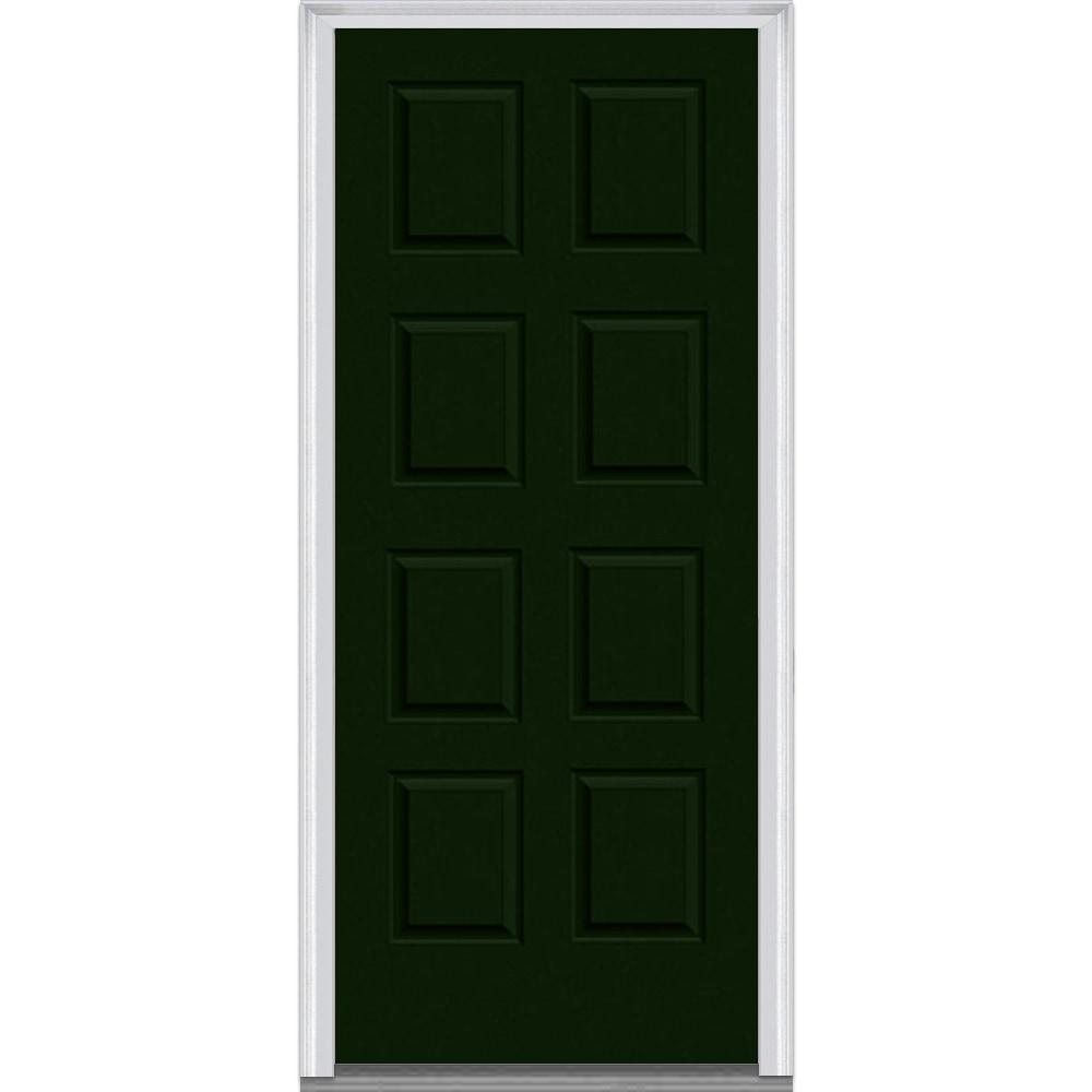 Doorbuild exterior panel collection steel prehung entry door hunter green 36 x80 8 panel - Exterior steel doors ...