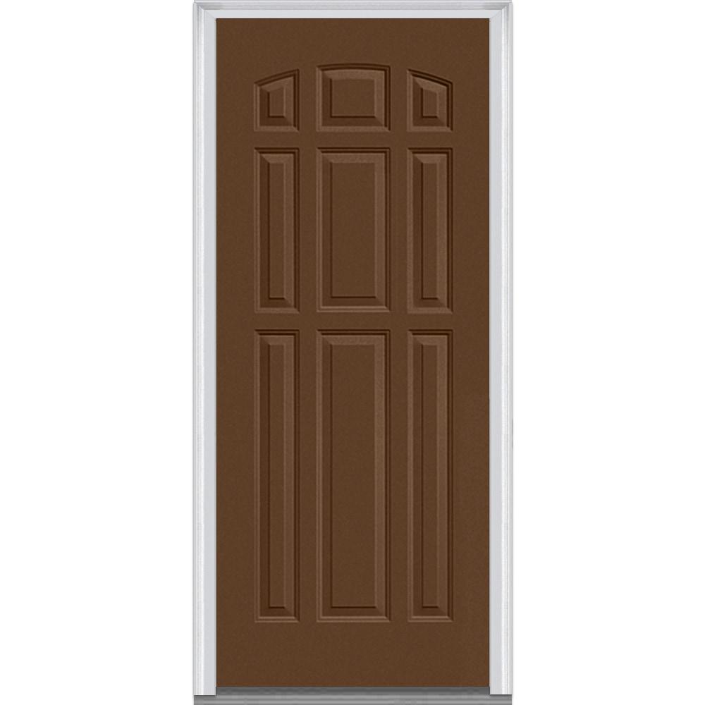 Doorbuild Exterior Panel Collection Steel Prehung Entry Door Fairfax Brown 32 X80 9 Panel