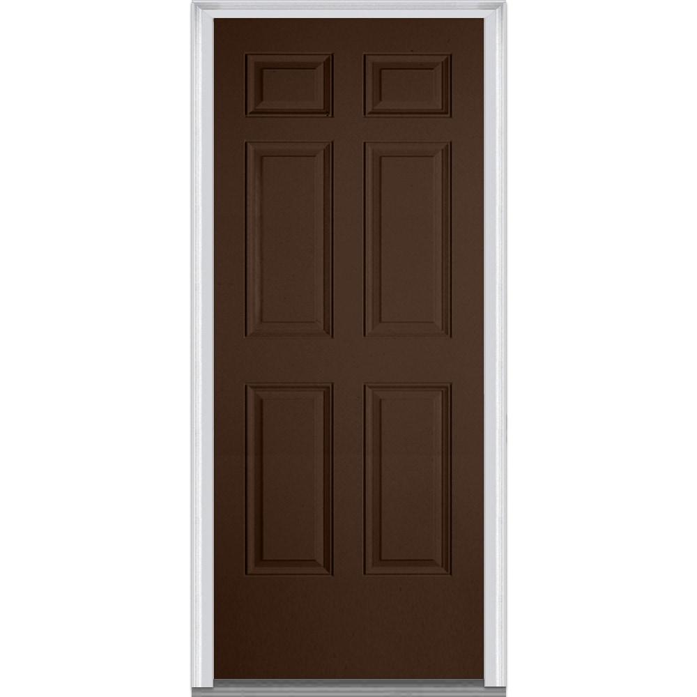 Doorbuild Exterior Panel Collection Steel Prehung Entry Door Polished Mahogany 36 X80 6