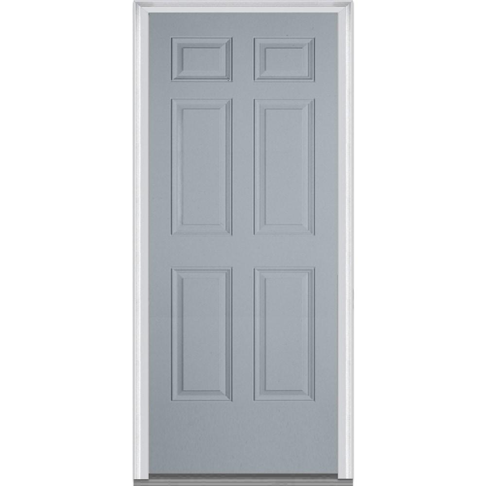 Doorbuild Exterior Panel Collection Steel Prehung Entry Door Storm Cloud 36 X80 6 Panel