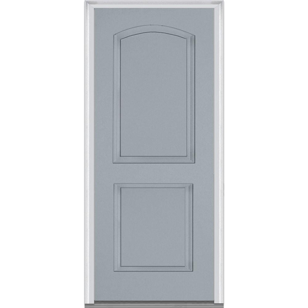 Doorbuild Exterior Panel Collection Fiberglass Smooth Prehung Entry Door Storm Cloud 32 X80