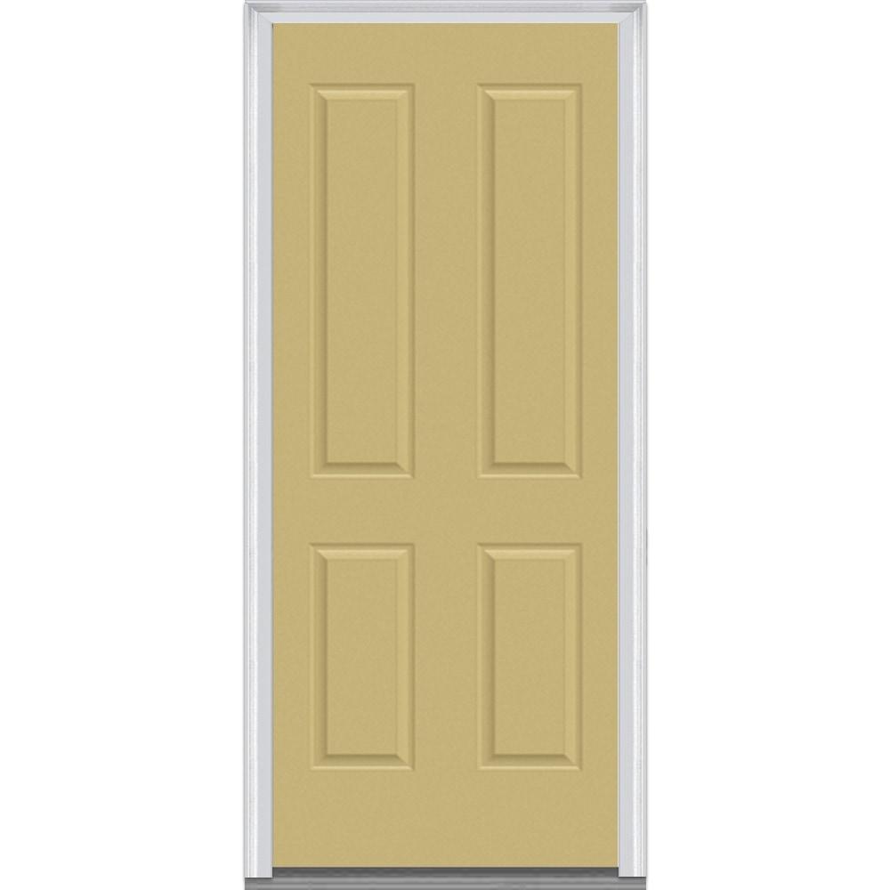 Doorbuild exterior panel collection steel prehung entry door beige 36 x80 4 panel steel - Exterior steel doors ...
