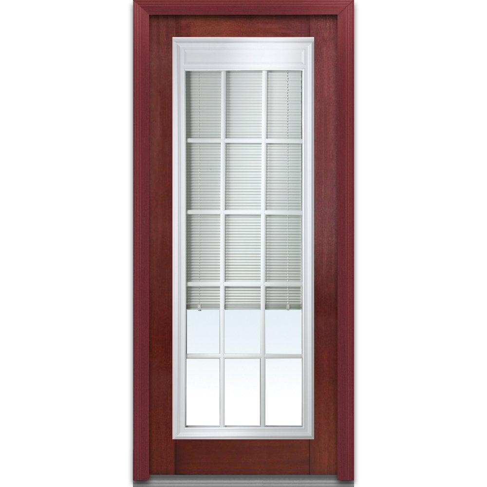 Doorbuild Internal Mini Blinds Collection Fiberglass Mahogany Prehung Door Windsor Cherry 32