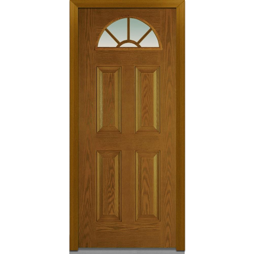 Doorbuild classic collection fiberglass oak prehung entry for Prehung exterior door