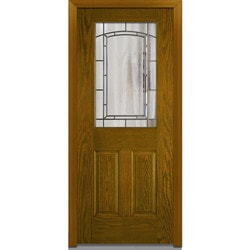 Door Build Solstice Glass Fiberglass Oak Prehung Entry Door Type 151182081 Exterior Doors In