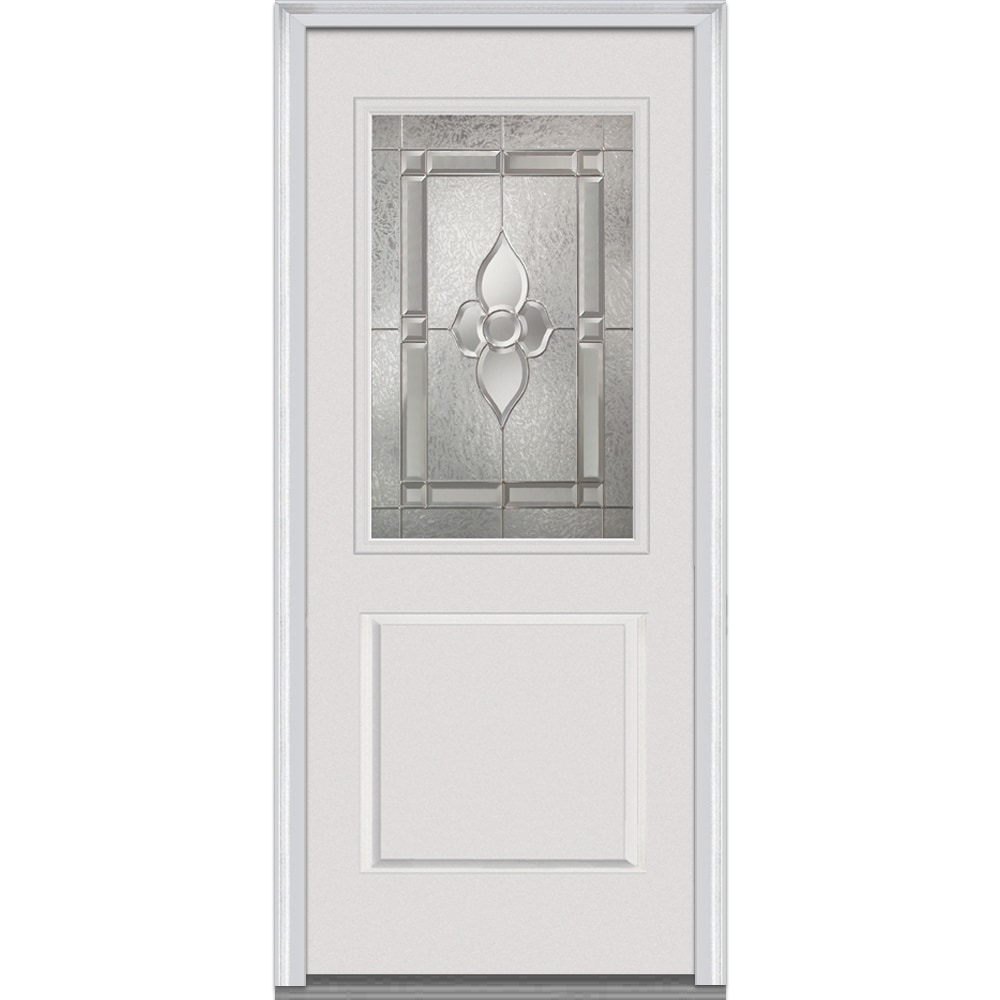 Doorbuild Master Nouveau Glass Collection Fiberglass Smooth Prehung Entry Door Primed 36 X80