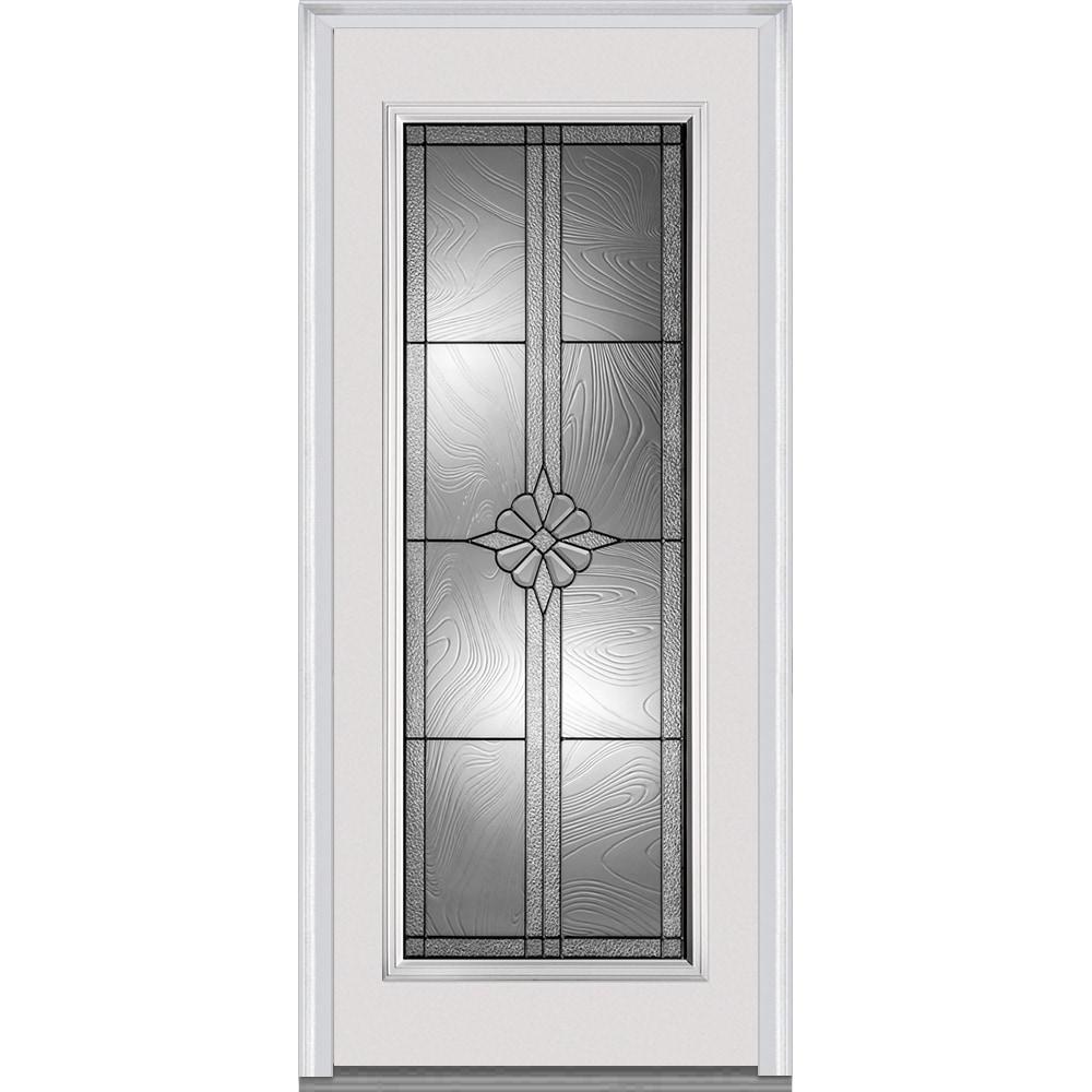 Doorbuild Dahlia Glass Collection Fiberglass Smooth Prehung Entry Door Primed 36 X80 Full