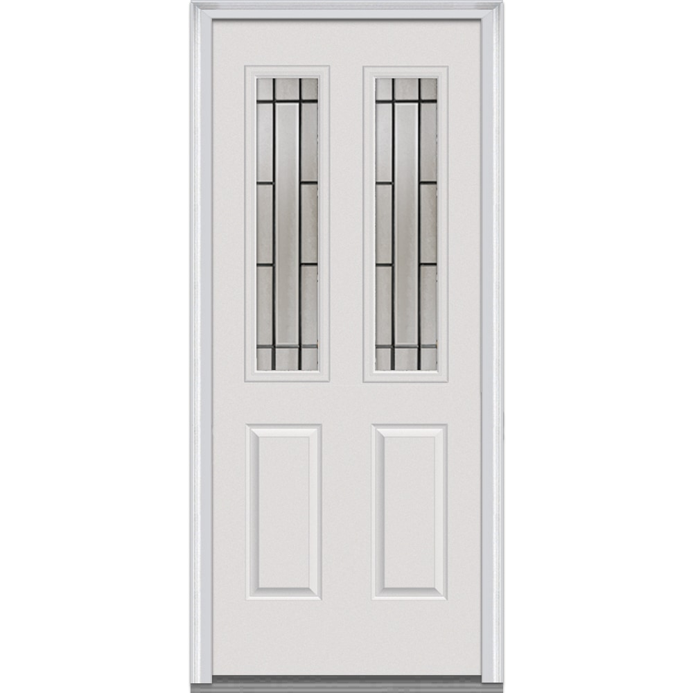 DoorBuild Solstice Glass Collection Steel Prehung Entry Door Primed 34 Qu
