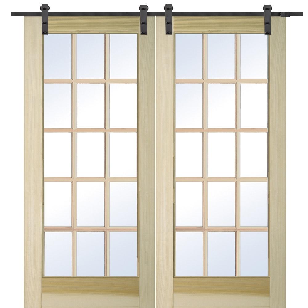 Doorbuild french double barn door with hardware kit poplar for Interior french doors home hardware