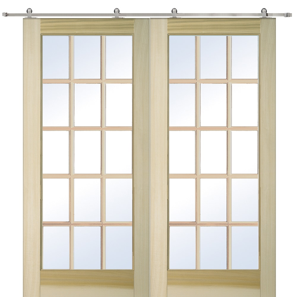 Doorbuild french double barn door with hardware kit poplar for Home hardware french doors