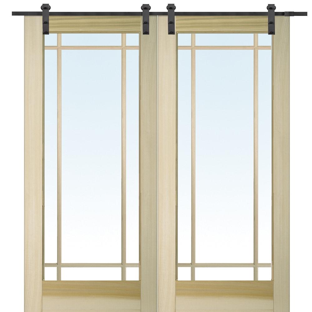 Doorbuild French Double Barn Door With Hardware Kit Poplar 72 X80 Poplar Clear 9 Lite
